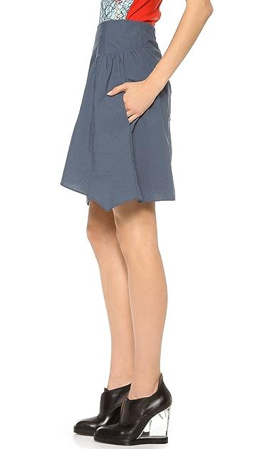 Carven Crumpled Poplin Skirt