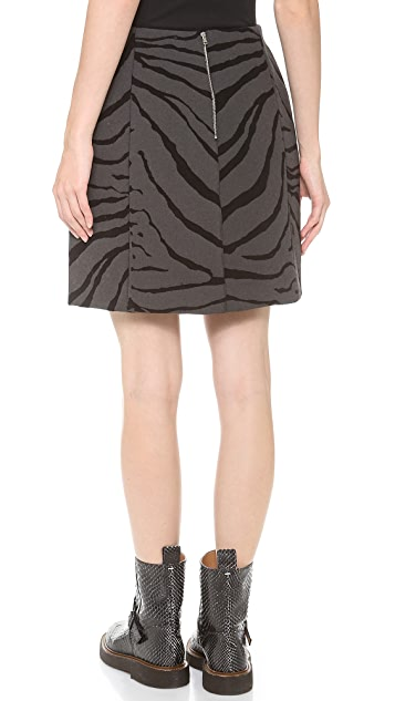 Carven Zebra Print Wool Skirt