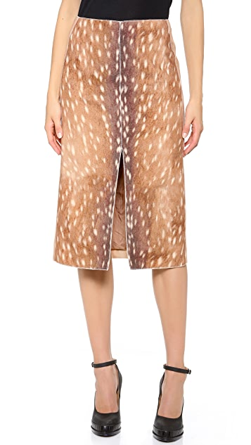 Carven Deer Print Split Skirt