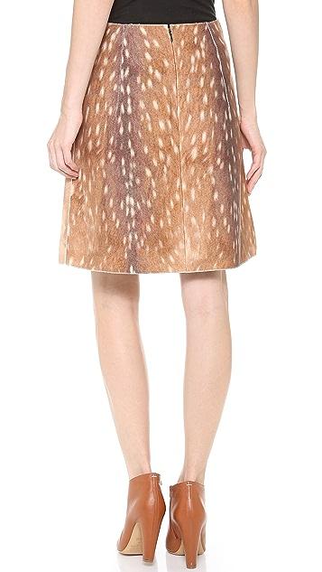 Carven Deer Print Short A Line Skirt