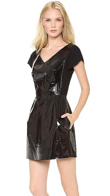 Carven Plastic Coated Short Sleeve V Neck Dress