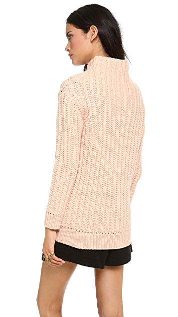 Carven Twist Front Mock Neck Sweater