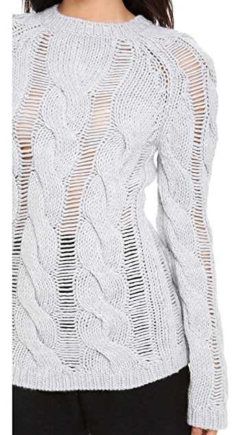 Carven Shredded Cable Sweater