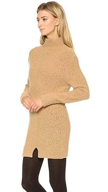 Carven Boucle Mock Neck Tunic Dress