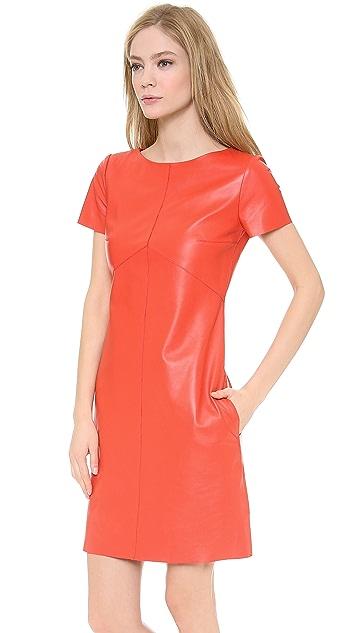 Carven Short Sleeve Leather Dress