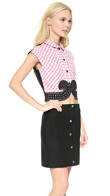 Carven Small Check Poplin Top