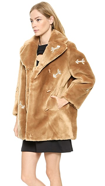 Carven Faux Fur Coat with Arrows