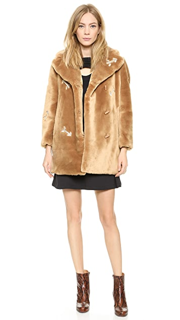various styles 100% quality crazy price Faux Fur Coat with Arrows