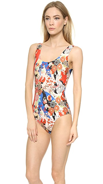 Carven Printed One Piece Swimsuit