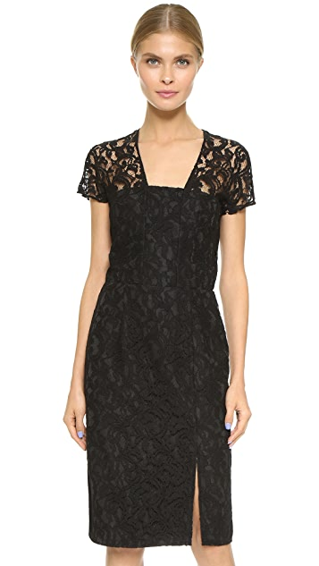Carven Short Sleeve Lace Dress