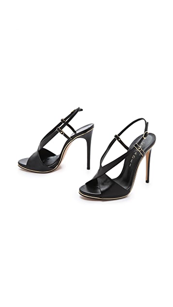 Casadei Crossover Peep Toe Sandals