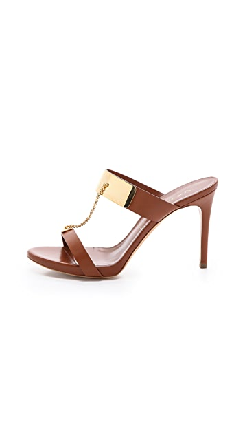 Casadei Metal Plate Strappy Sandals