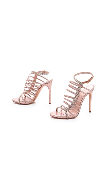 Casadei Crystal Braid Strappy Sandals