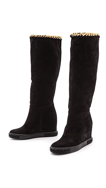Casadei Hidden Wedge Fold Over Boots