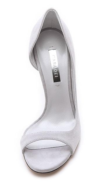 Casadei Asymmetrical Peep Toe Pumps