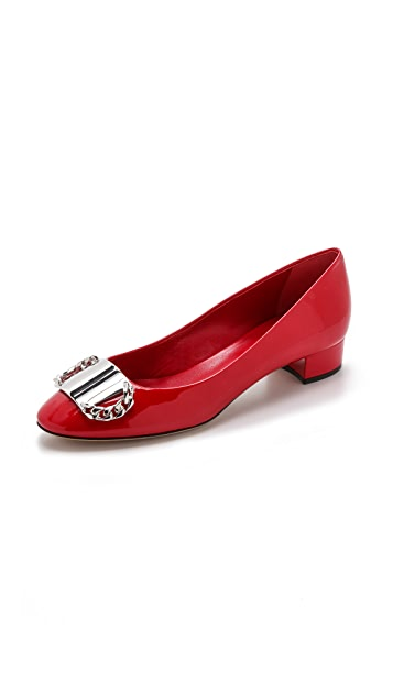 Casadei Patent Flats with Plate