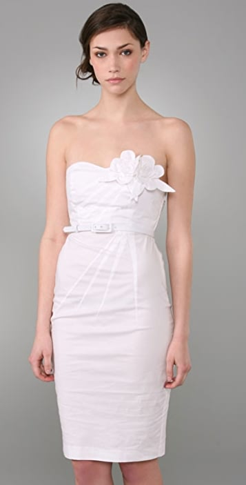 Catherine Malandrino Strapless Dress with Corsage