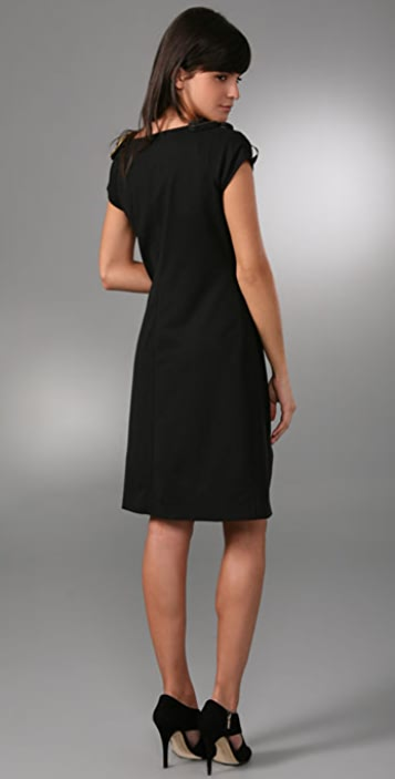 Catherine Malandrino Cap Sleeve Shift Dress with Antique Neckline