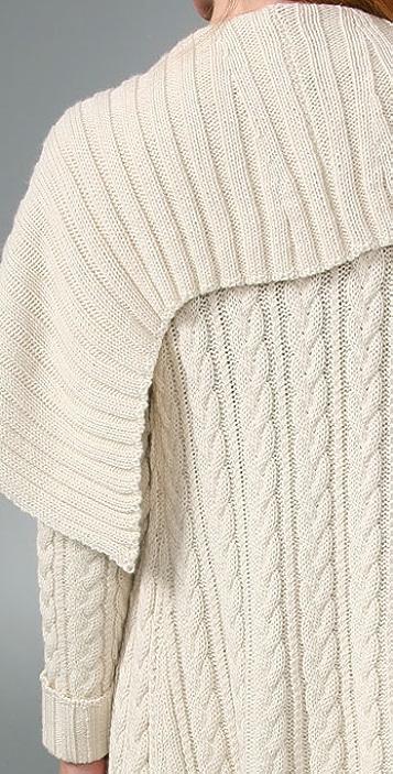Catherine Malandrino Cardigan Sweater with Draped Neckline