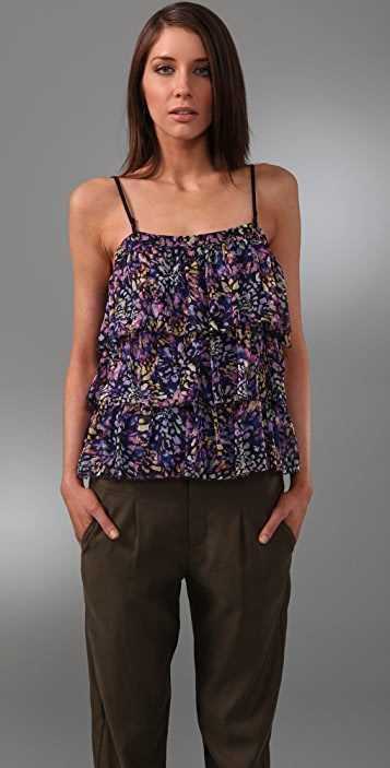 Catherine Malandrino Tiered Camisole with Suede Straps