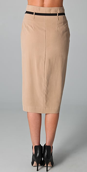 Catherine Malandrino Belted Pencil Skirt