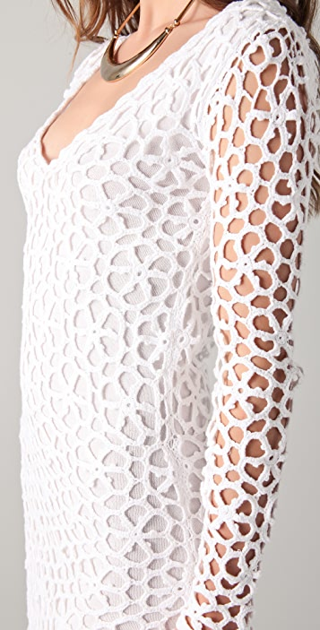 Catherine Malandrino Long Sleeve Crochet Dress