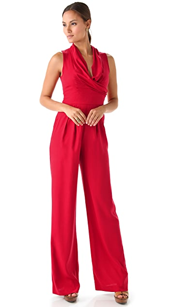 Catherine Malandrino Sleeveless V Neck Jumpsuit
