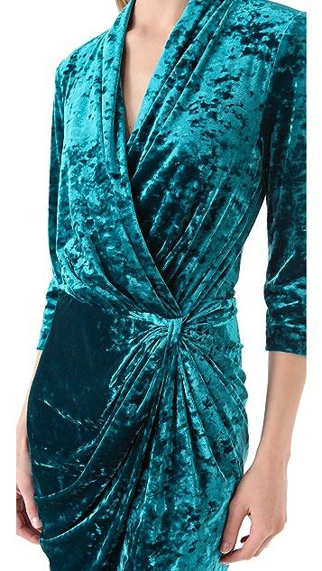 Catherine Malandrino Crushed Velvet Wrap Dress