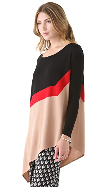 Catherine Malandrino Colorblock Asymmetrical Top