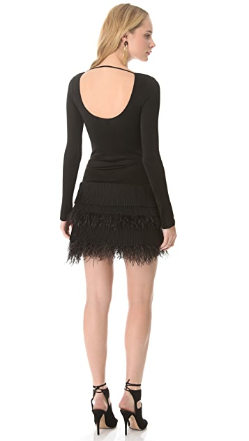 Catherine Malandrino Feather Skirt Dress