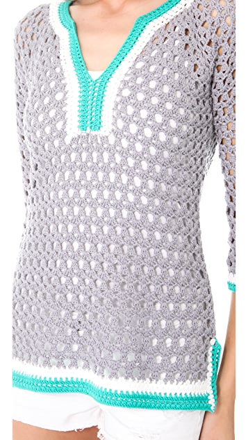 Catherine Malandrino V Neck Crochet Tunic