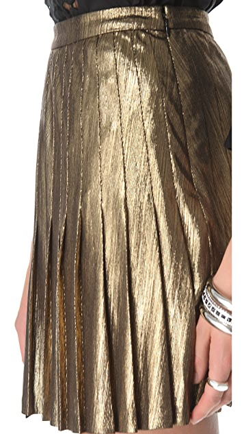 Catherine Malandrino Metallic Pleated Miniskirt
