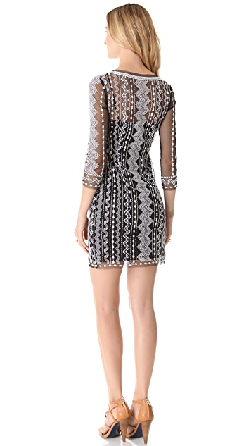 Catherine Malandrino Geometric Embroidery Dress