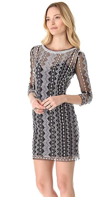 Catherine Malandrino Geometric Embroidery Dress
