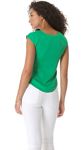 Catherine Malandrino Cap Sleeve Cutout Top
