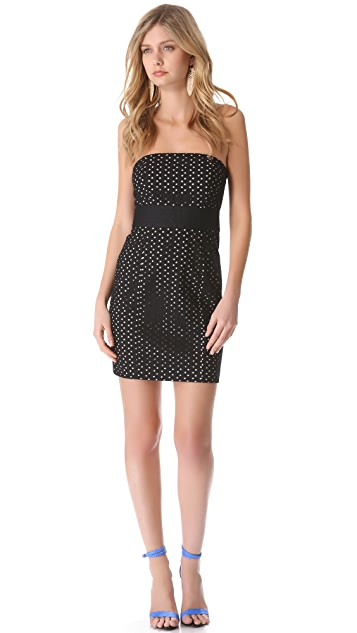 Catherine Malandrino Strapless Eyelet Dress