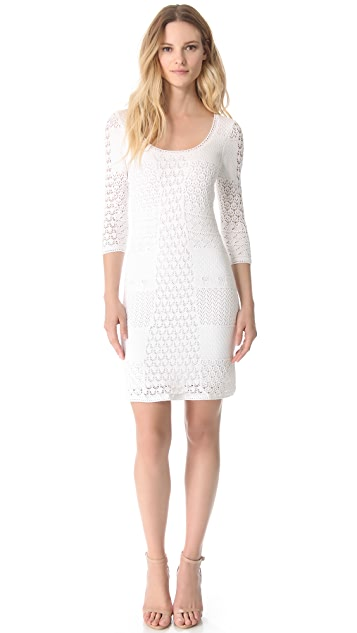 Catherine Malandrino Crochet Scoop Neck Dress