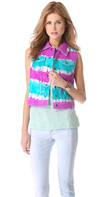 Catherine Malandrino Tie Dye Leather Vest
