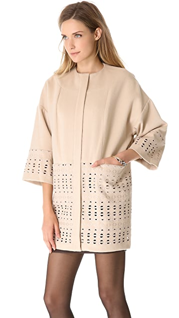 Catherine Malandrino Alma Cutout Embroidery Coat