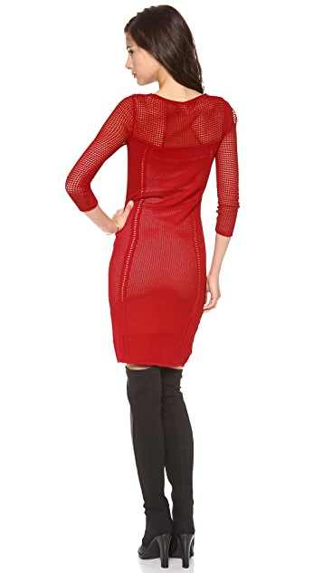 Catherine Malandrino Brooke 3/4 Sleeve Pointelle Dress