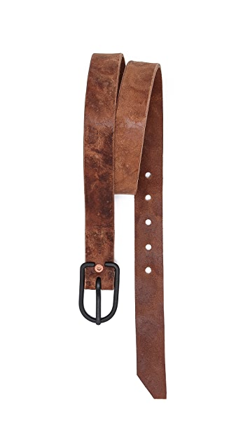 Cause and Effect Pounded Leather Belt with Black Buckle