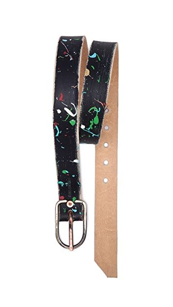 Cause and Effect Splatter Paint Belt with Nickel Buckle