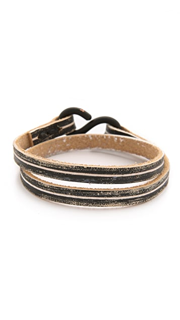 Cause and Effect 2 Tone Leather Double Wrap Bracelet