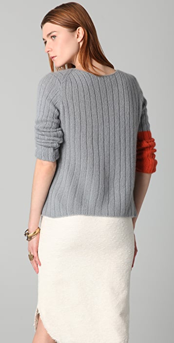 Chris Benz Hand Knit Cashmere Crew Neck Deck Sweater