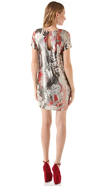 Chris Benz Metallic Print Dress with Short Sleeves