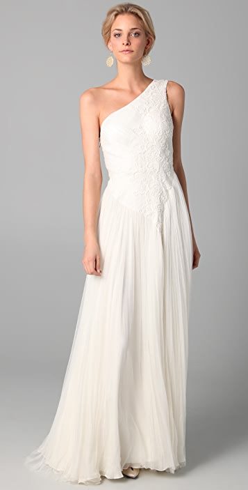 Catherine Deane Katy One Shoulder Dress with Embroidery