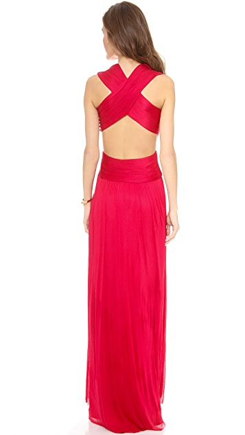 Catherine Deane Sylver Cross Back Gown