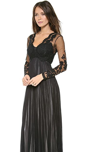 Catherine Deane Tally Embroidered Sleeve Gown
