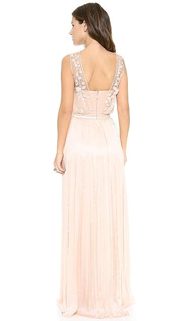 Catherine Deane Taylor Floral V Neck Gown