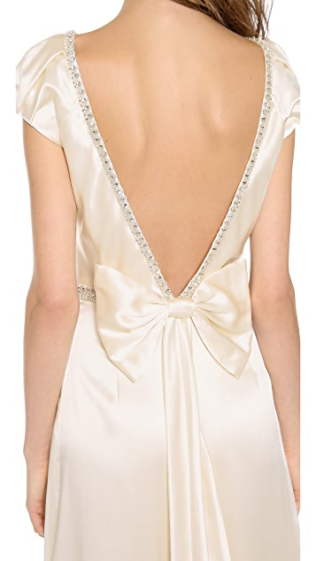 Collette Dinnigan Cap Sleeve Gown with Bow